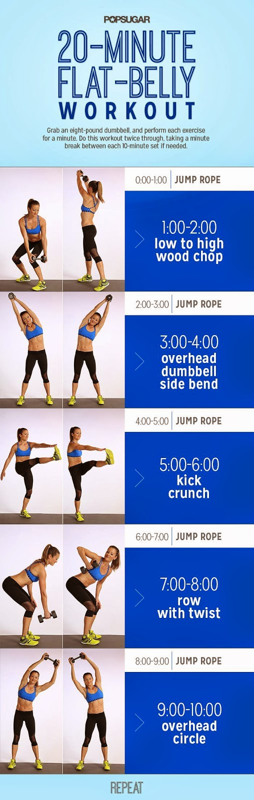 20 Minute Flat-Belly Workout - Infographic