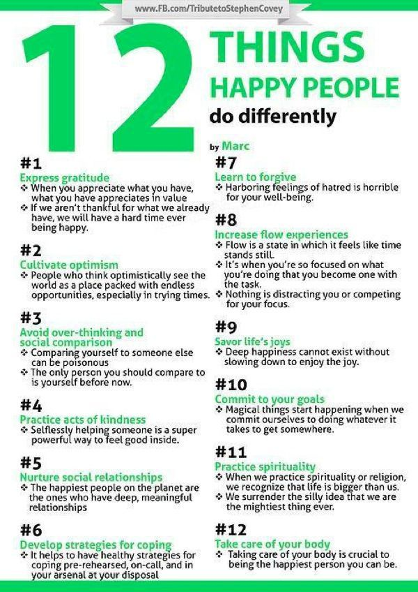 12 Things Happy People Do Differently - Infographic