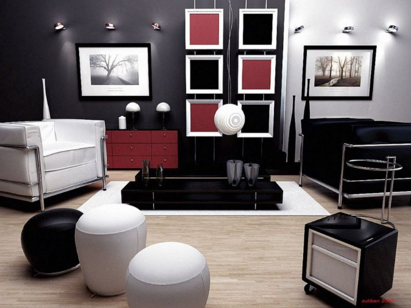 Awesome Modern Home Decor Wooden Floor Black Interior