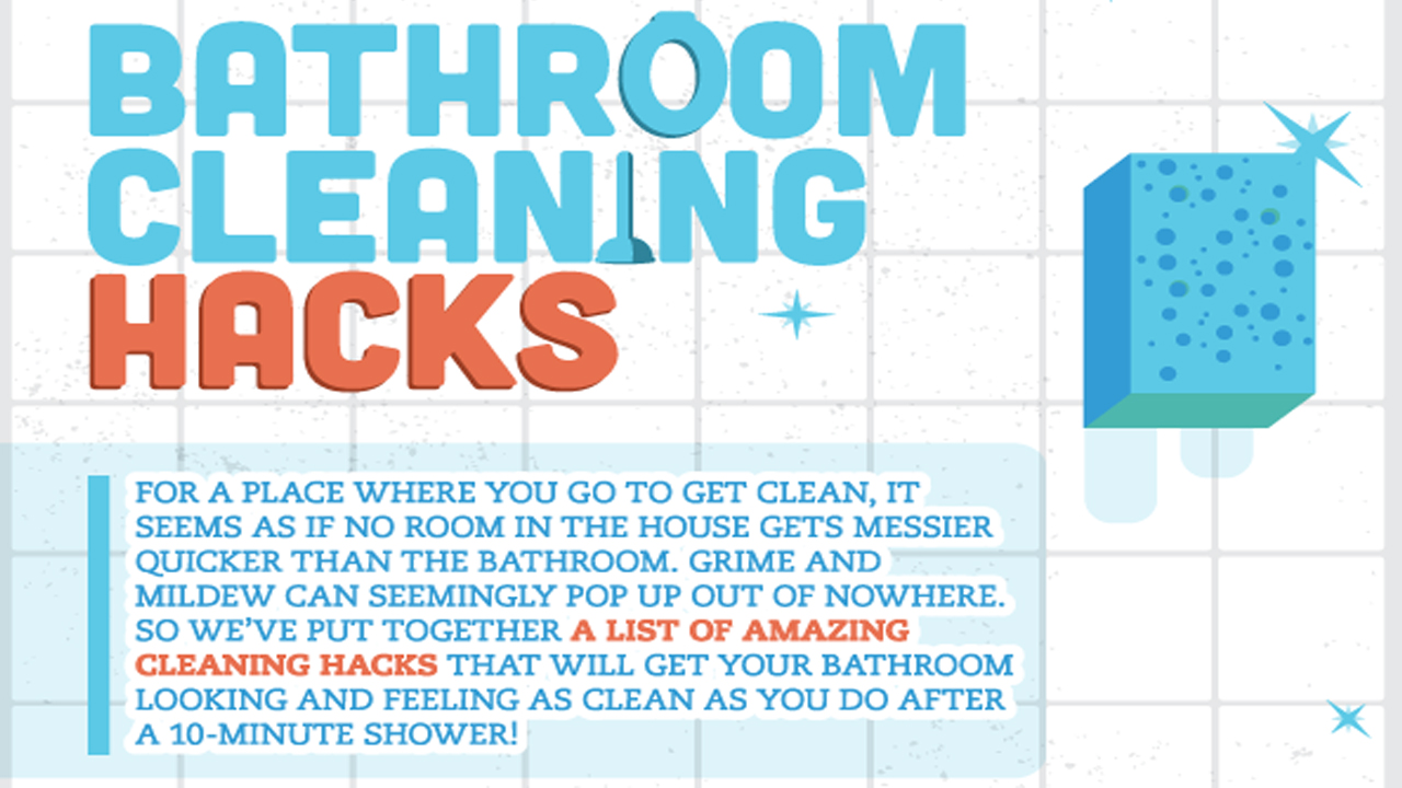 life hacks cleaning your bathroom infographic. Black Bedroom Furniture Sets. Home Design Ideas