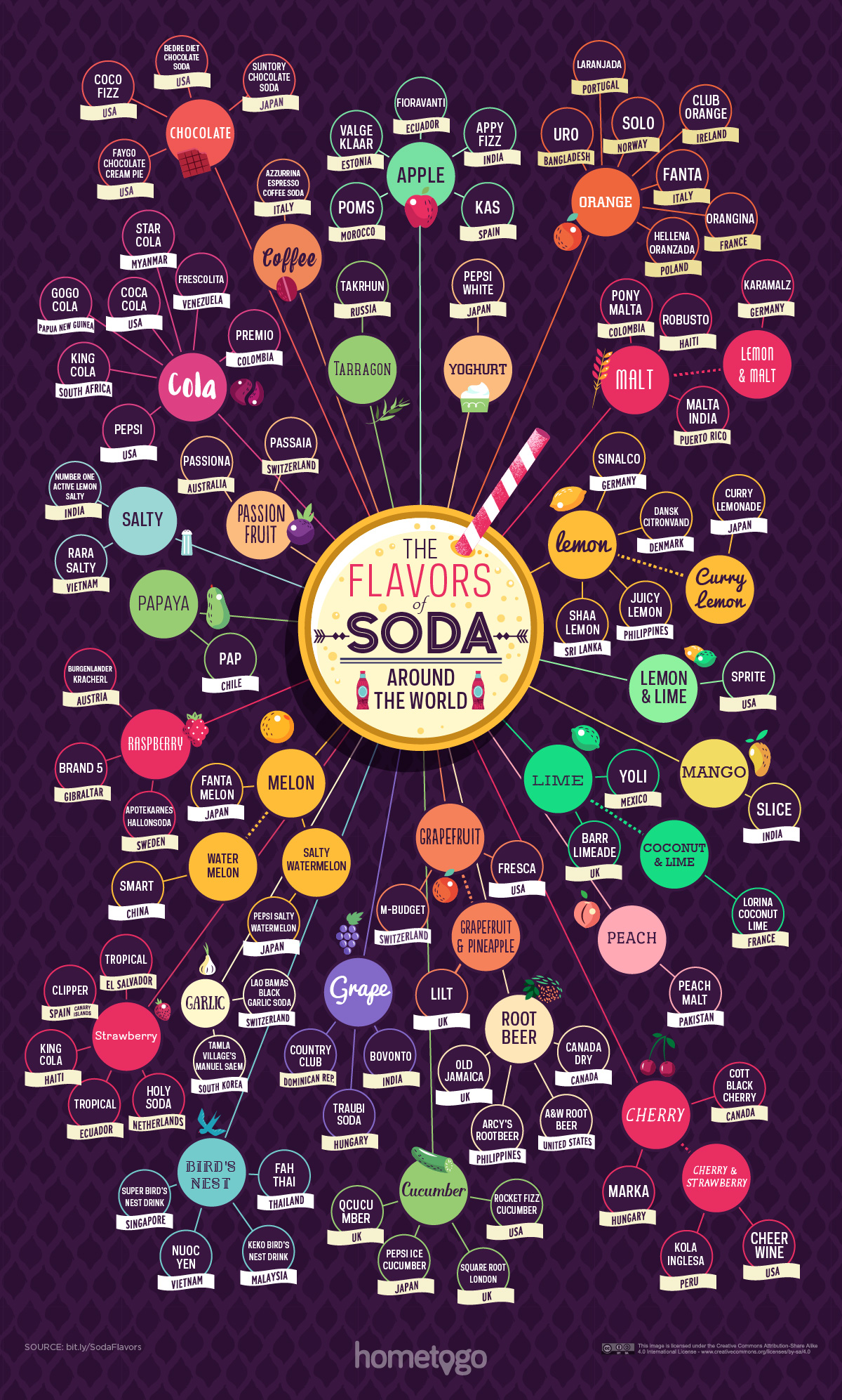 The Different Soda Flavors Around The World - Infographic