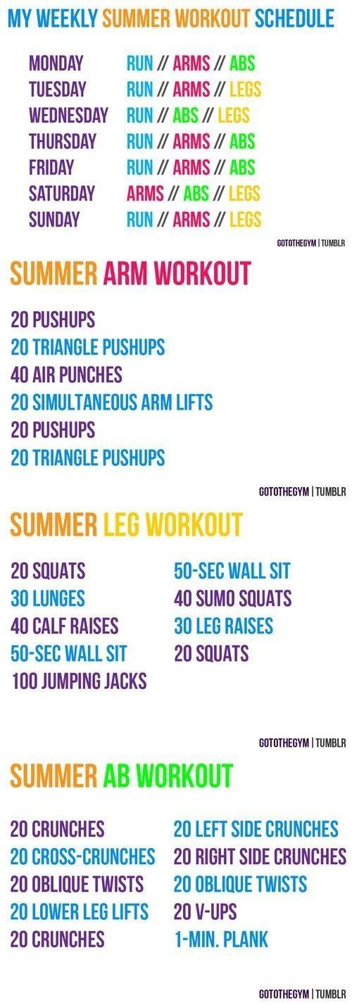 Summer Workout Schedule - Infographic