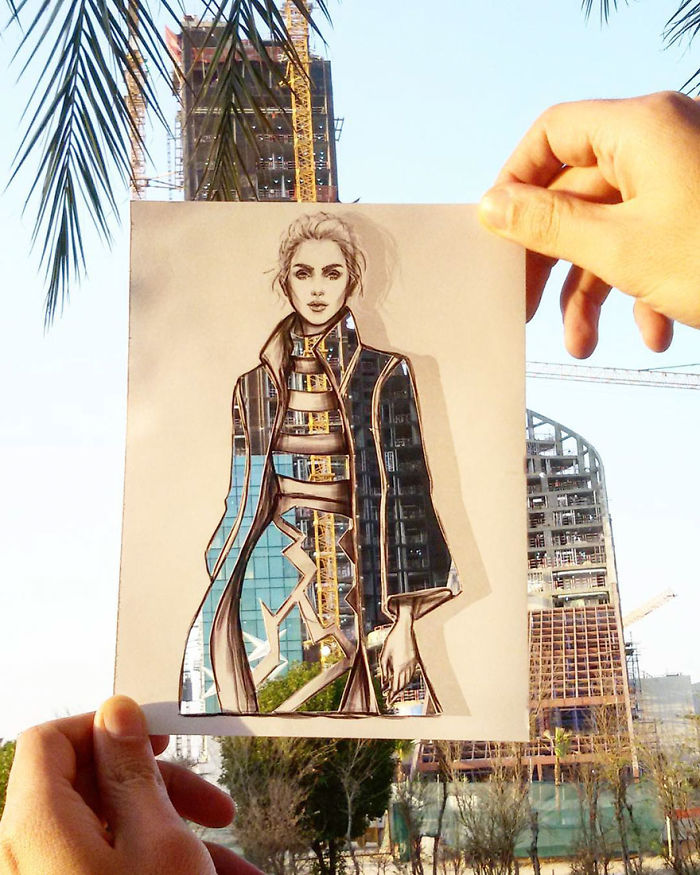 Shamekh Bluwi Uses The Environment To Complete His Fashion Illustrations (10)