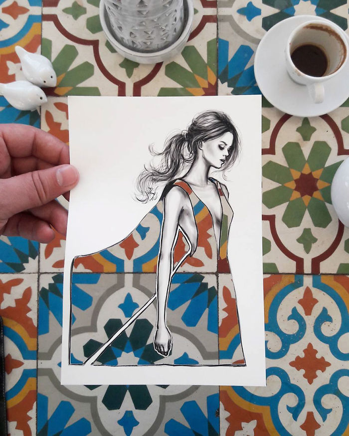 Shamekh Bluwi Uses The Environment To Complete His Fashion Illustrations (5)