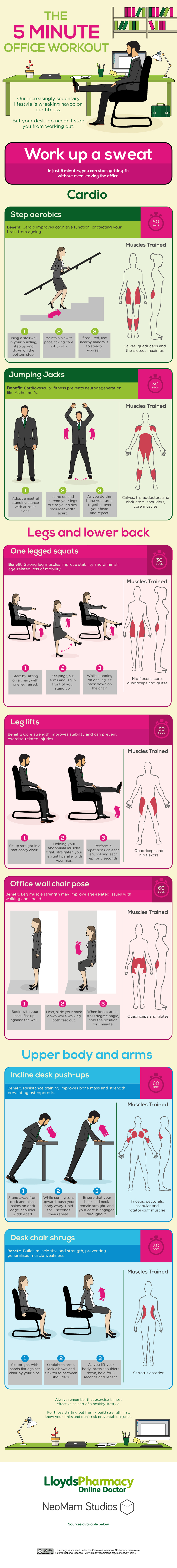 7 Exercises You Do Can While At Work - Infographic