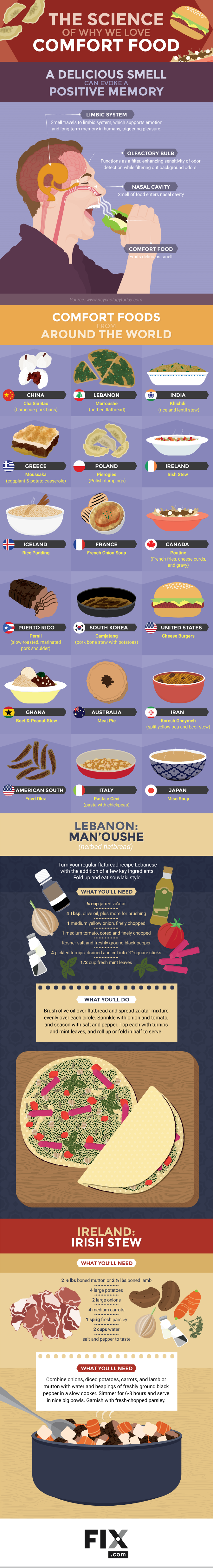 "Why ""Comfort Food"" Is Comforting – Scientific Explanation - Infographic"