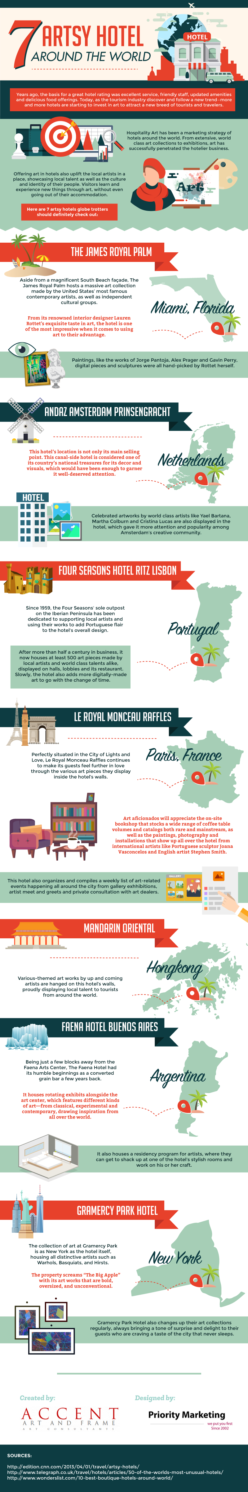 7 Artsy Hotels Around The World - Infographic