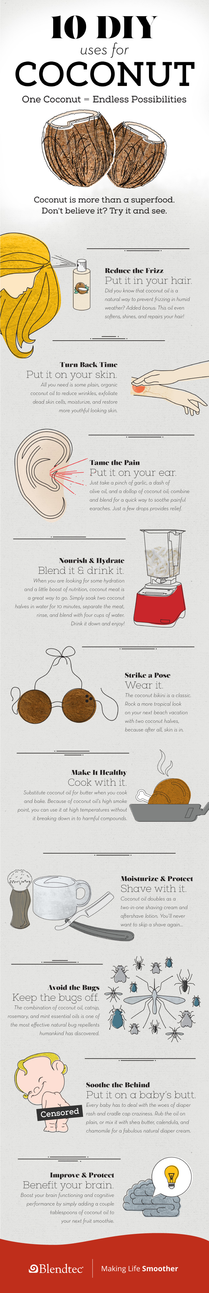 DIY: 10 Different Ways Coconuts Can Be Used - Infographic