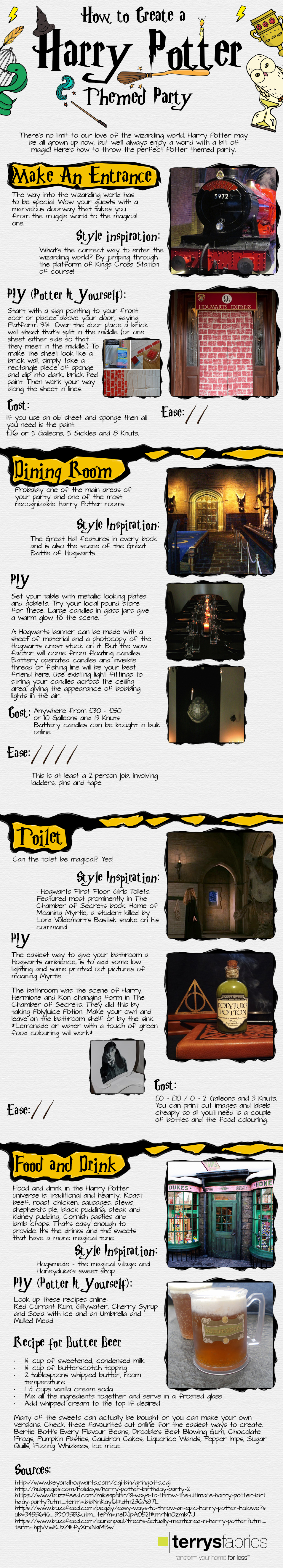 DIY Harry Potter Themed Party - Infographic