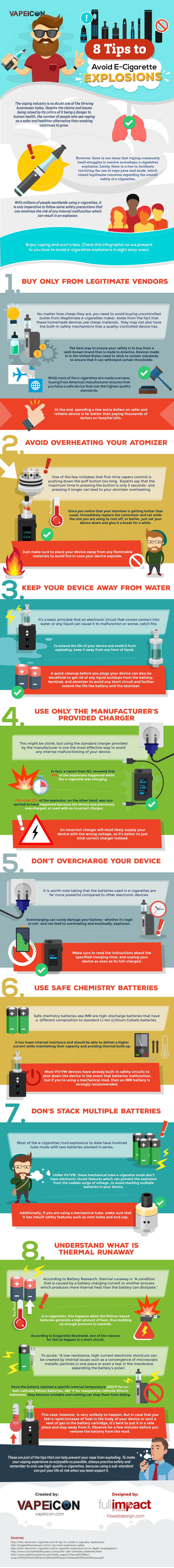 How To Avoid E-Cigarette Explosions - Infographic