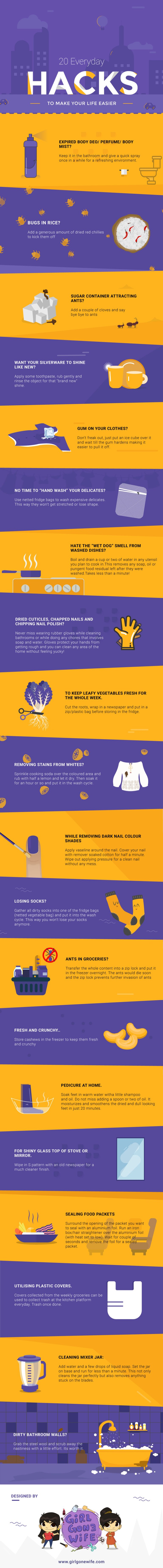20 Life-Changing Hacks - Infographic