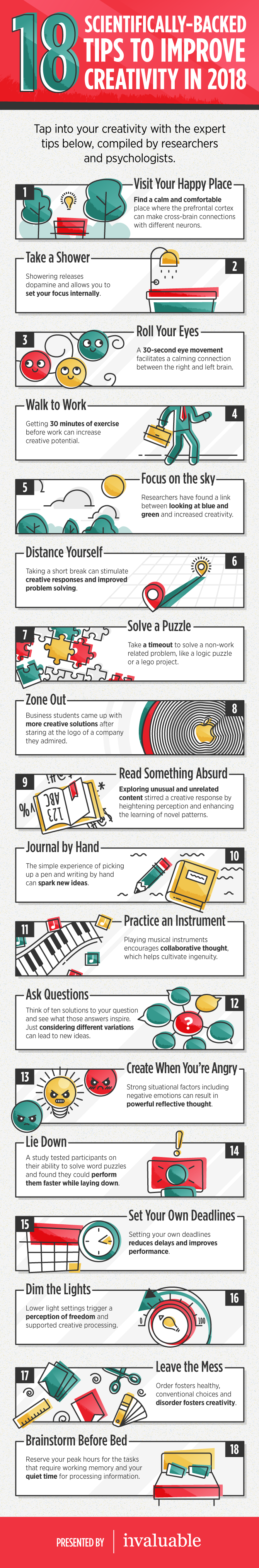 Improve Your Creativity: 18 Science-Backed Tips - Infographic