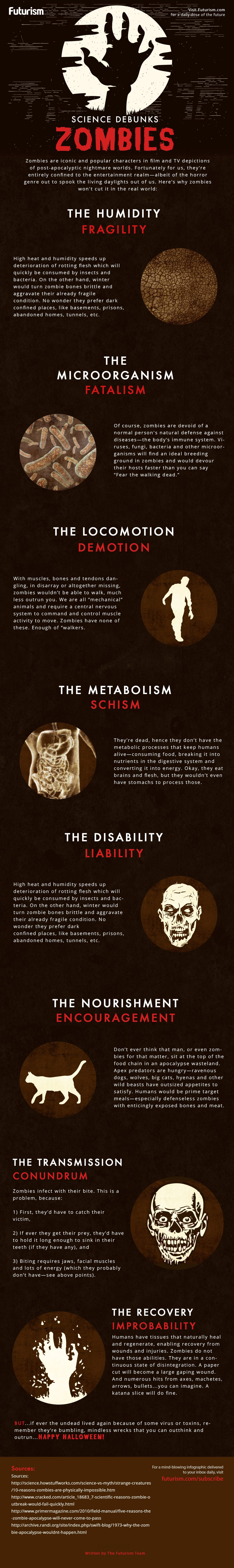 Why Zombies Can Never Rule the World: Science Debunks Myths - Infographic