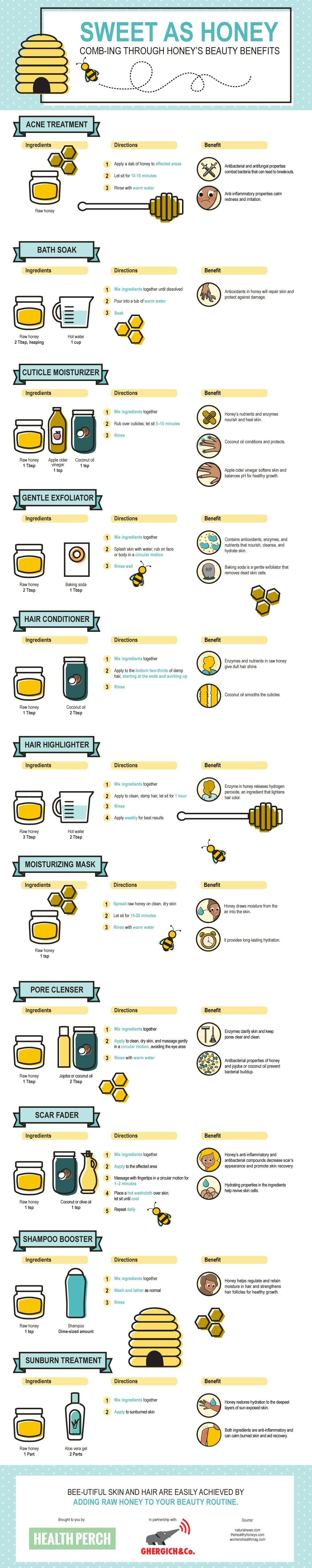 DIY Honey Beauty-Treatment Recipes - Infographic