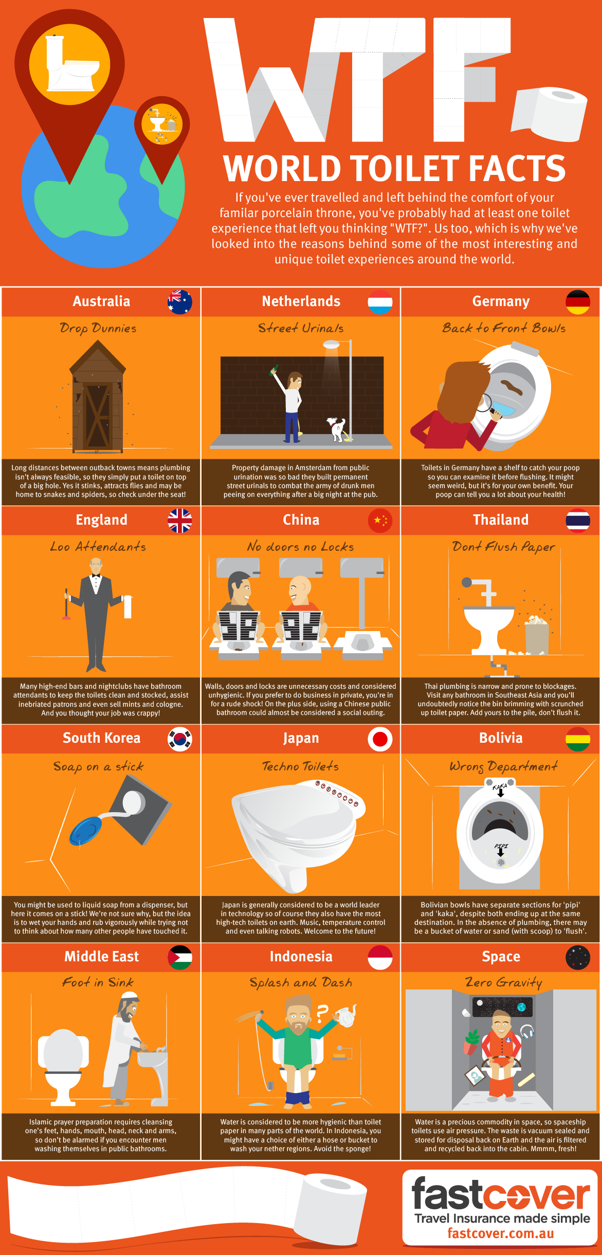 Weird and Whacko World Toilet Facts. WTF!? - Infographic