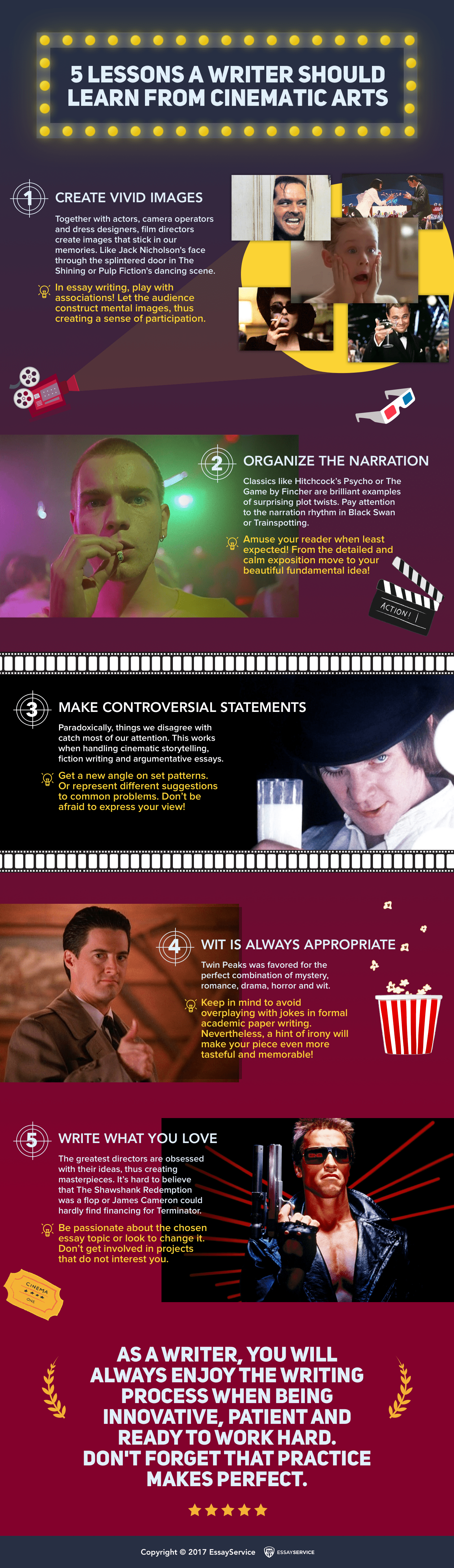 How Moves Can Influence Writing: 5 Lessons from Cinematic Arts - Infographic