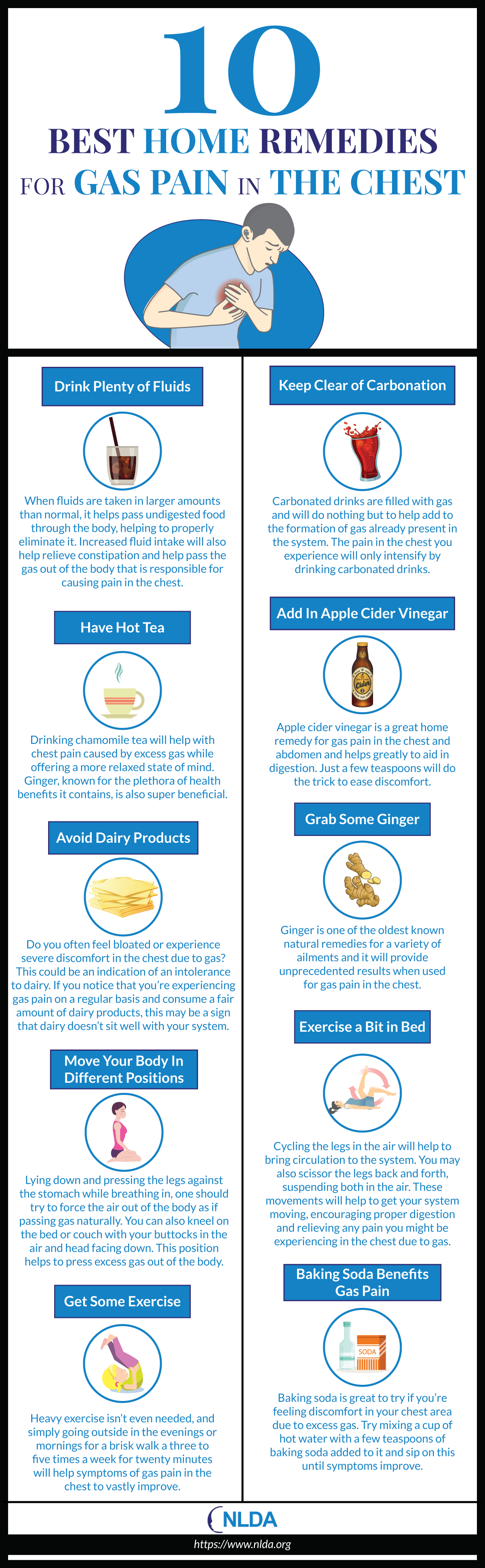No More Gas Pains in the Chest: 10 Home-Made Remedies - Infographic