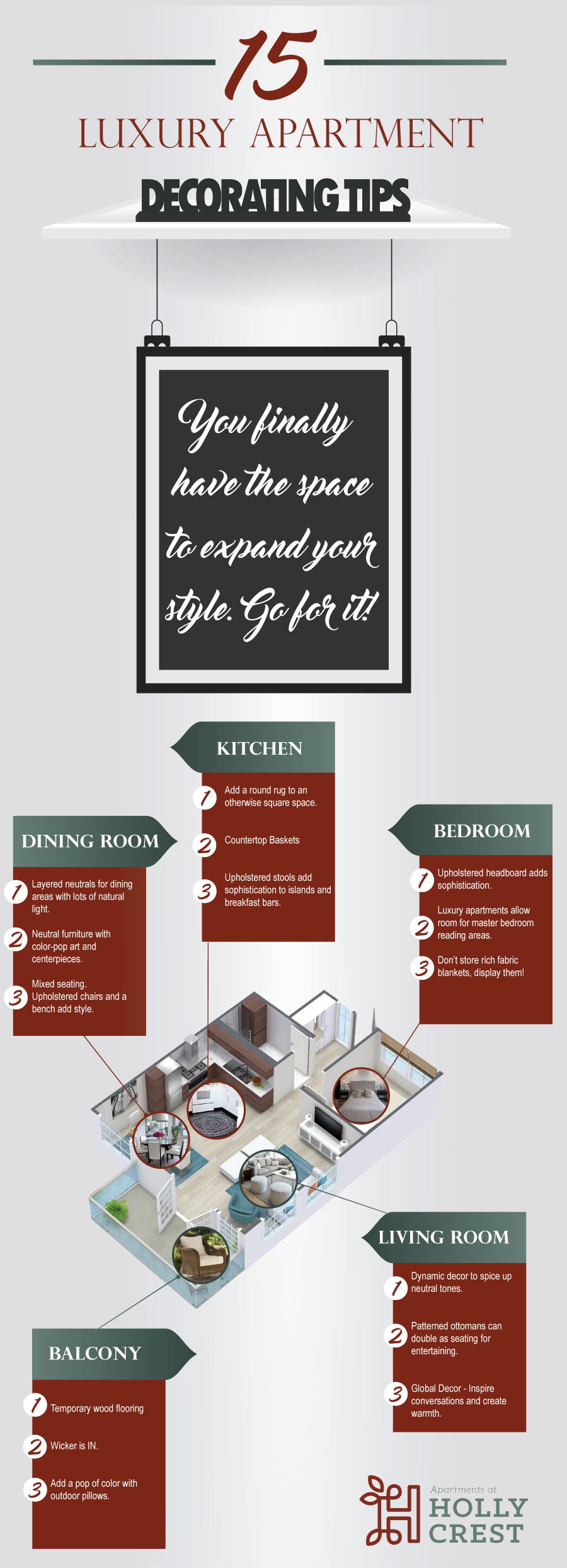 Live the Luxurious Life: 15 Decorating Tips for Luxury Apartments - Infographic