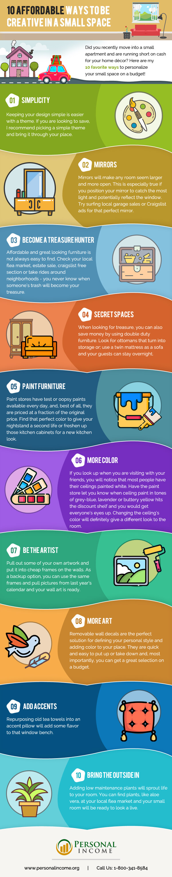 10 Easy-On-the-Pocket and Super Creative Ways to Decorate Small Spaces - Infographic