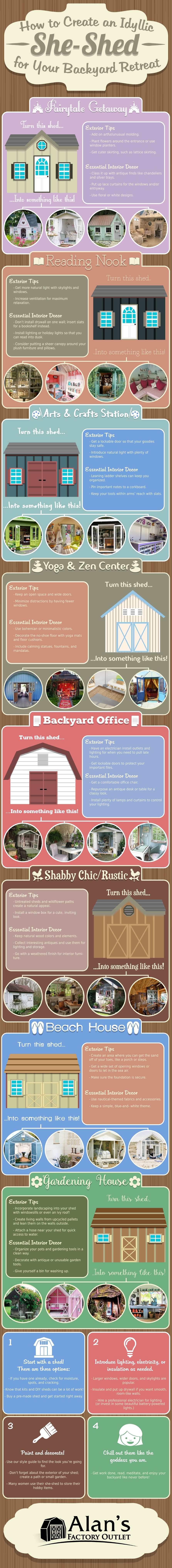 How to Convert the Garden Shed into an Idyllic Personal Space - Infographic