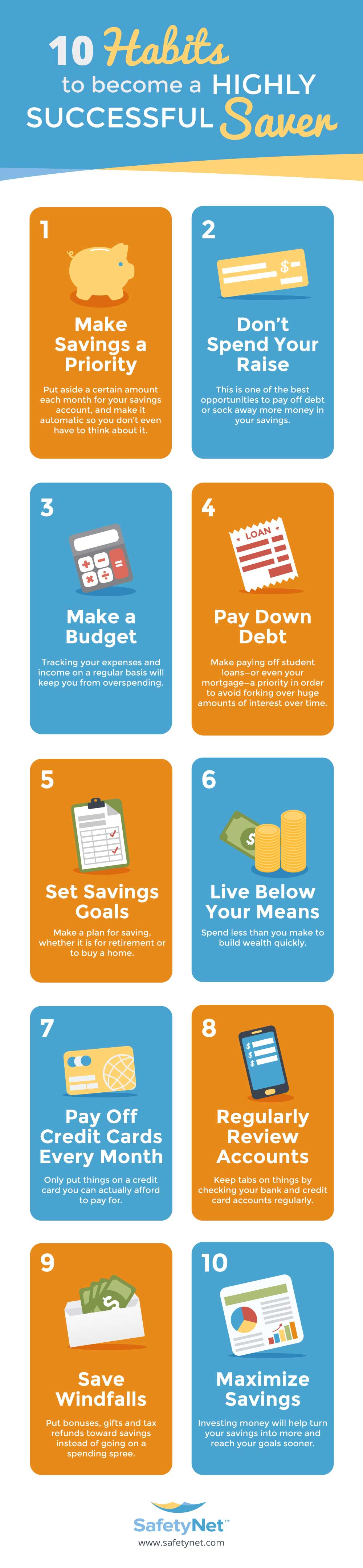 To Build Wealth, Learn to Save: 10 Habits of Highly Successful Savers - Infographic