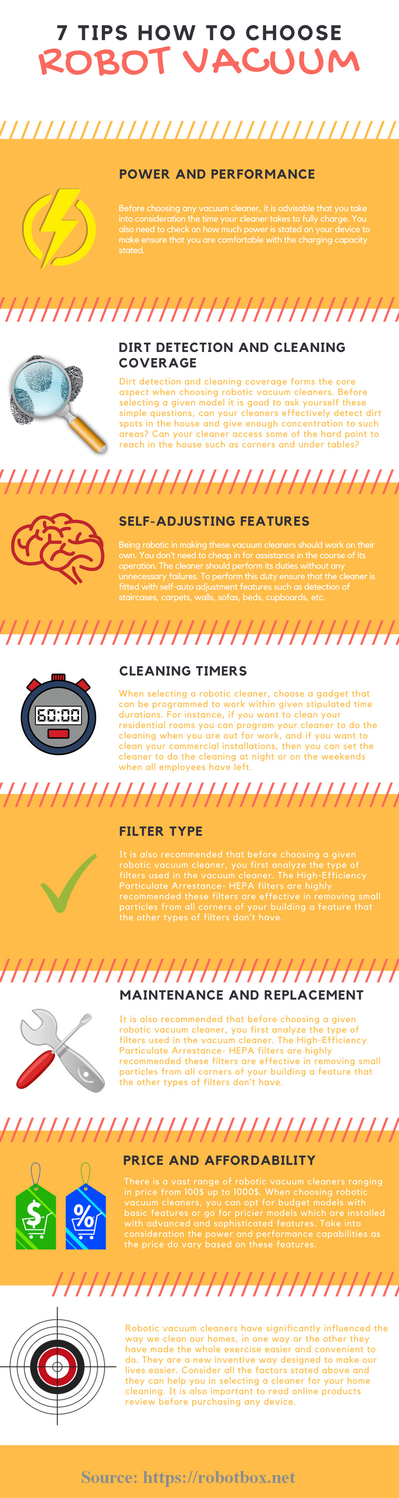 Ready to Buy a Robotic Vacuum Cleaner? 7 Tips on How to Choose - Infographic