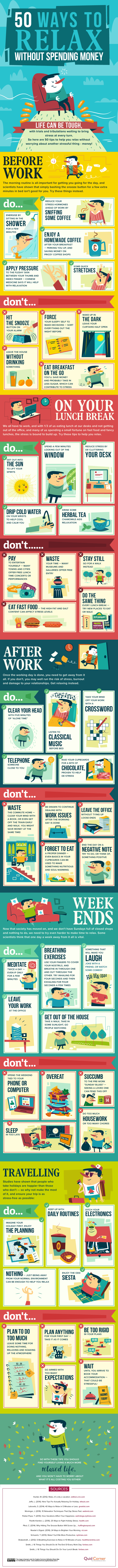 The Best Things in Life are Free: 50 Ways to Relax Without Spending Any Money - Infographic