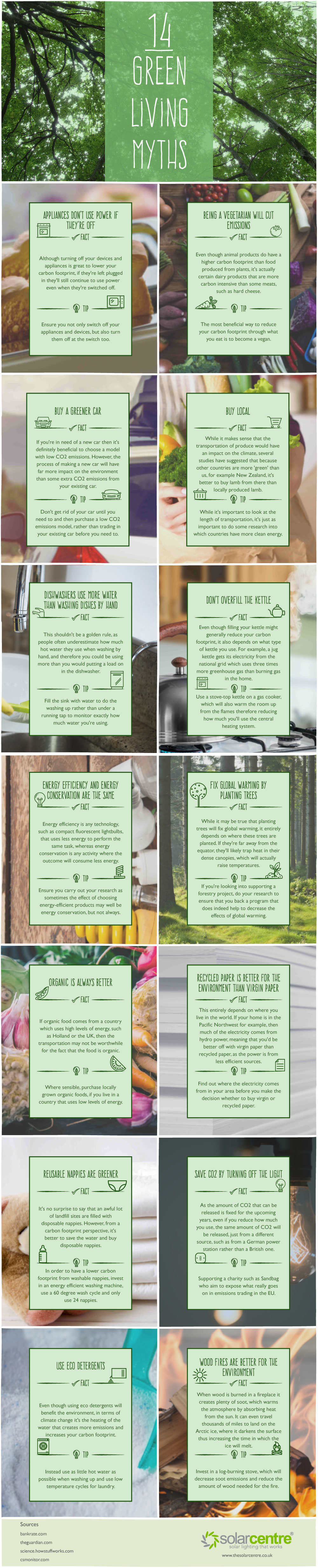 How to Reduce Your Personal Carbon Footprint: The Truth Behind 14 Green Myths - Infographic