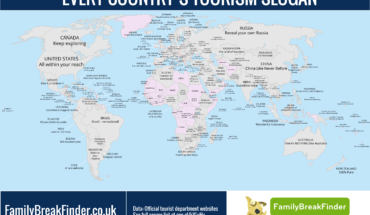 A Nation's Promise: World Map of Tourism Slogans - Infographic