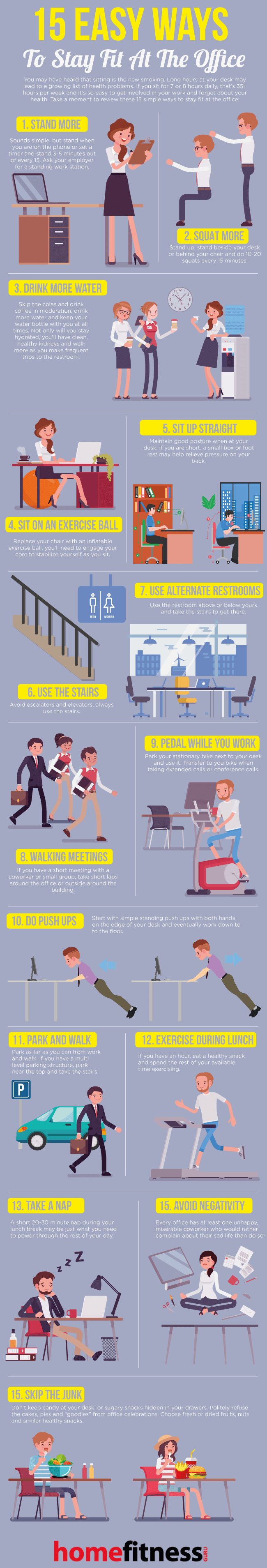 How to Build Fitness Activities into Your Sedentary Workspace - Infographic