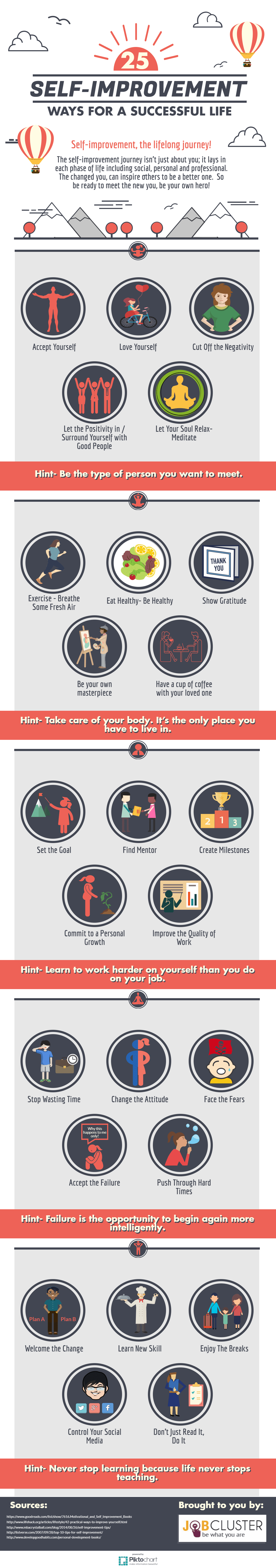 How to Continually Upgrade to Better Versions of Yourself: 25 Self-Improvement Tips - Infographic