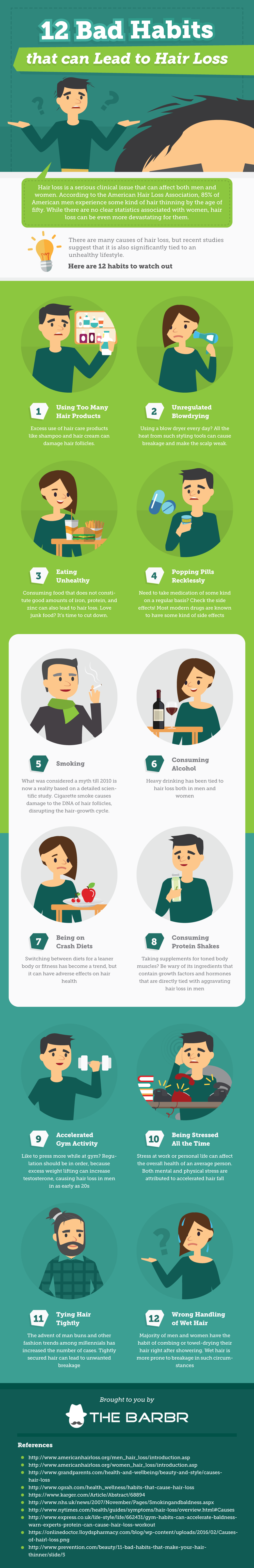 What Causes Thinning Hair? 12 Bad Habits that Aggravate Hair Loss - Infographic