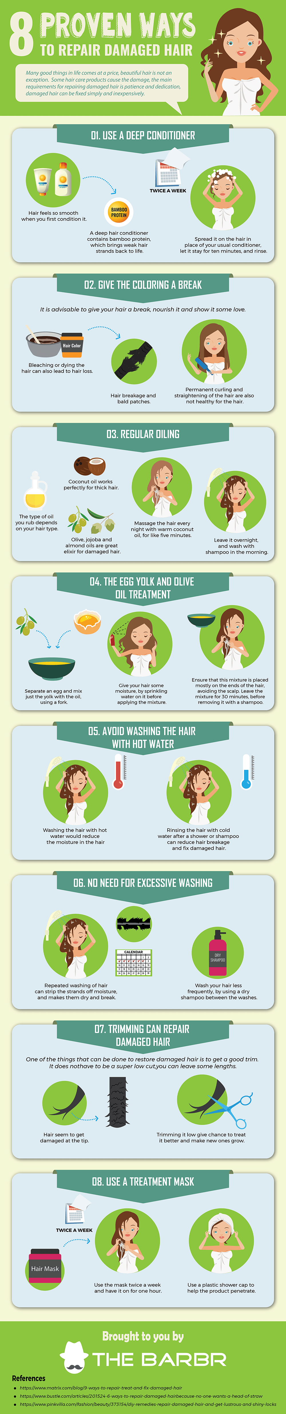 The Gorgeous Mane Manual: 8 Great Ways to Repair Damaged Hair - Infographic