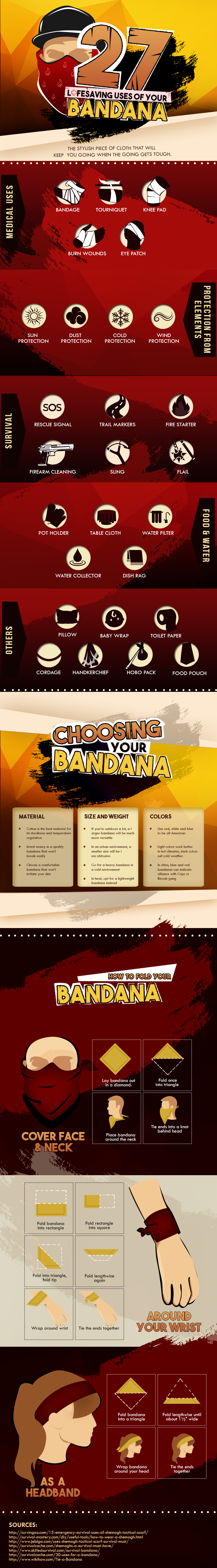 27 Ways the Stylish Bandana Can Be Used – Including Lifesaving! - Infographic