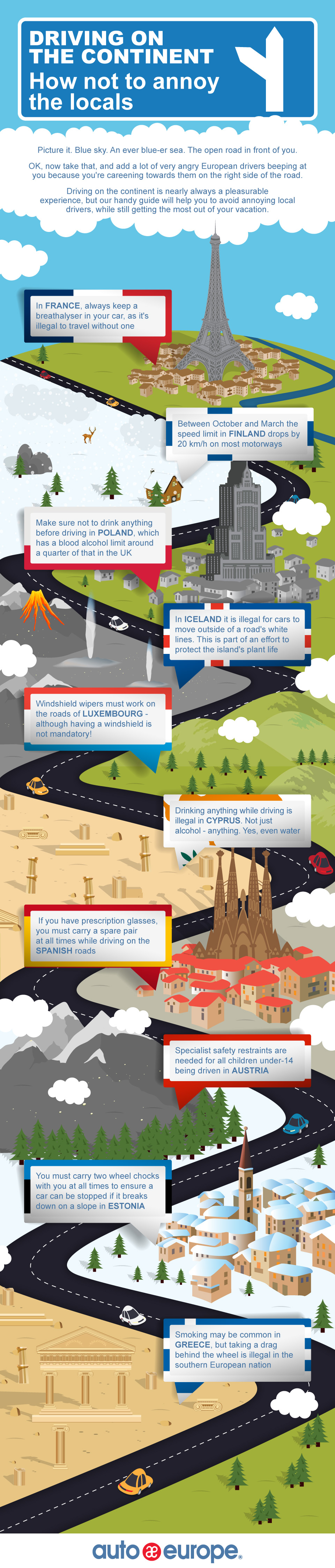 Driving Rules in Europe: Some Bizarre Facts - Infographic