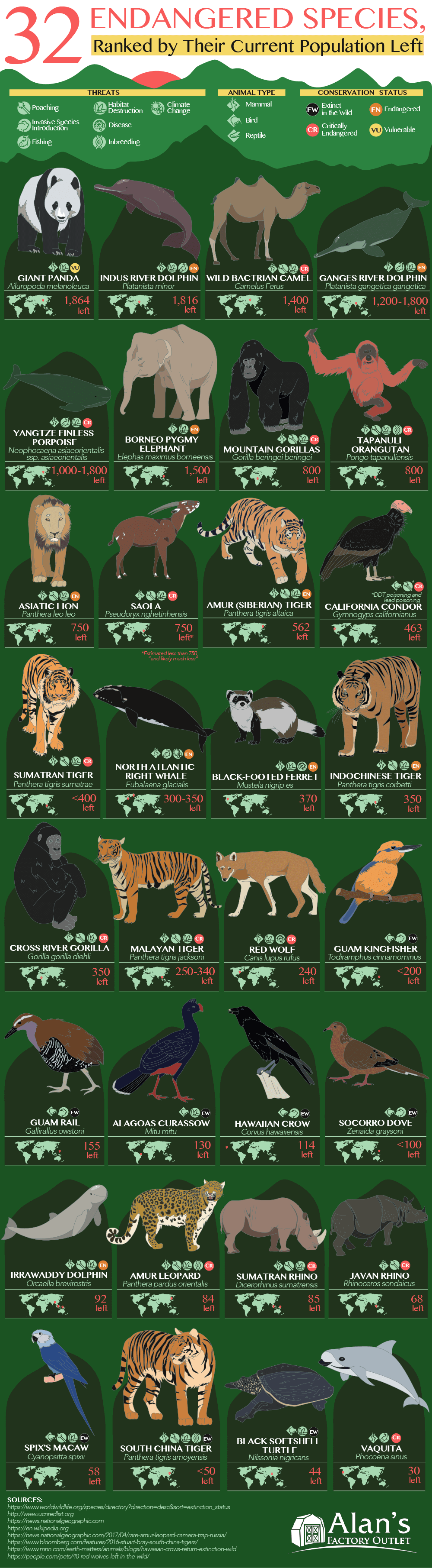 And Then There Were None: 32 Endangered Species, Ranked by Population - Infographic