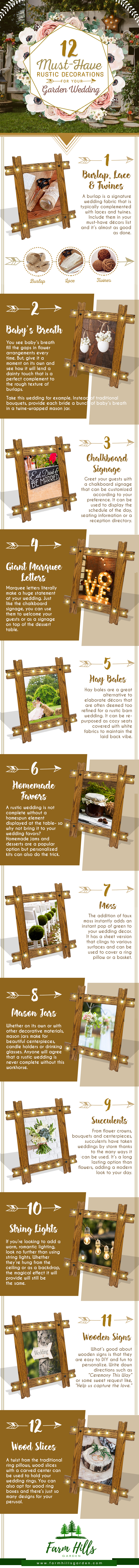 How to Create an Authentic Rustic Setting for Your Garden Wedding - Infographic