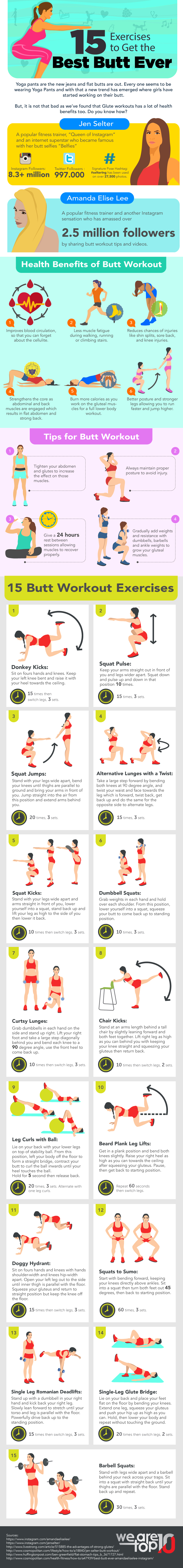The Year of the Butt: 15 Great Butt Exercises that Work the Magic - Infographic