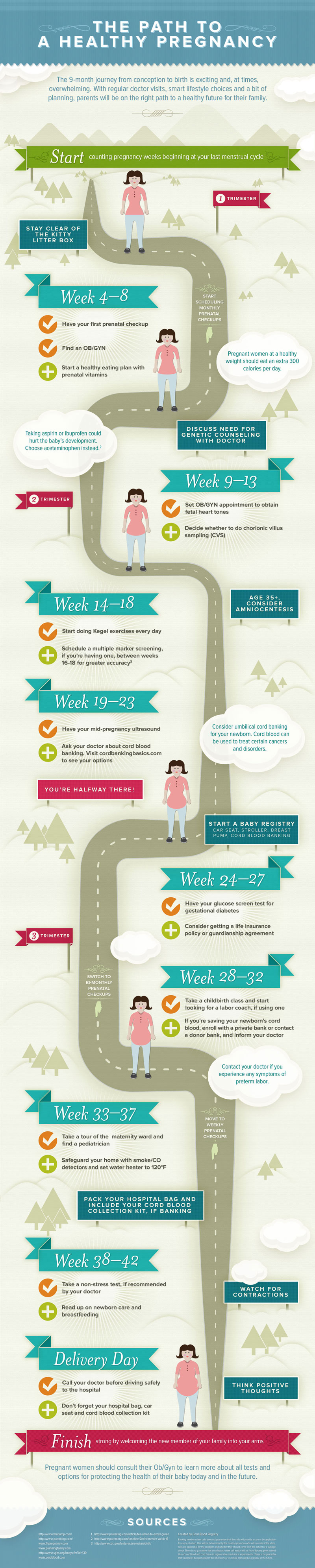 Week-By-Week Calendar for Healthy Pregnancy Care - Infographic