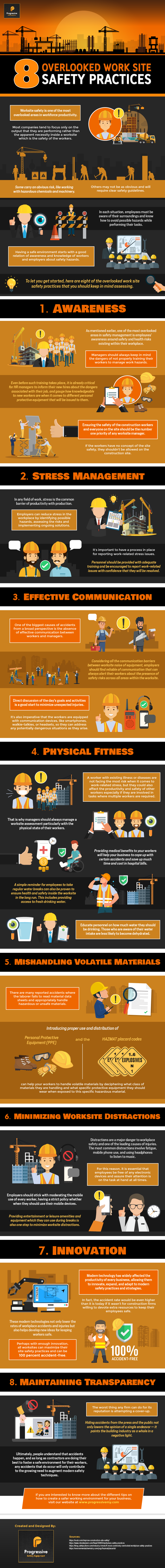 8 Overlooked Work Site Safety Practices - Infographic