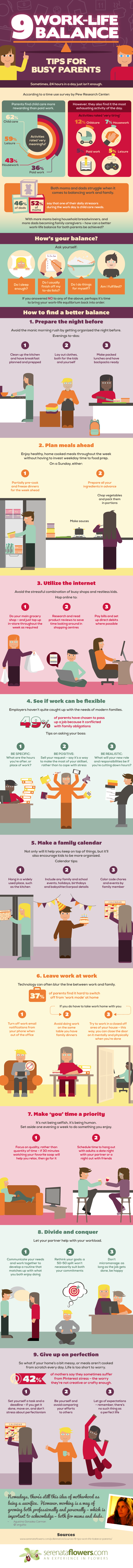 How to Achieve True Work-Life Balance: 9 Valuable Tips for Busy Parents- Infographic