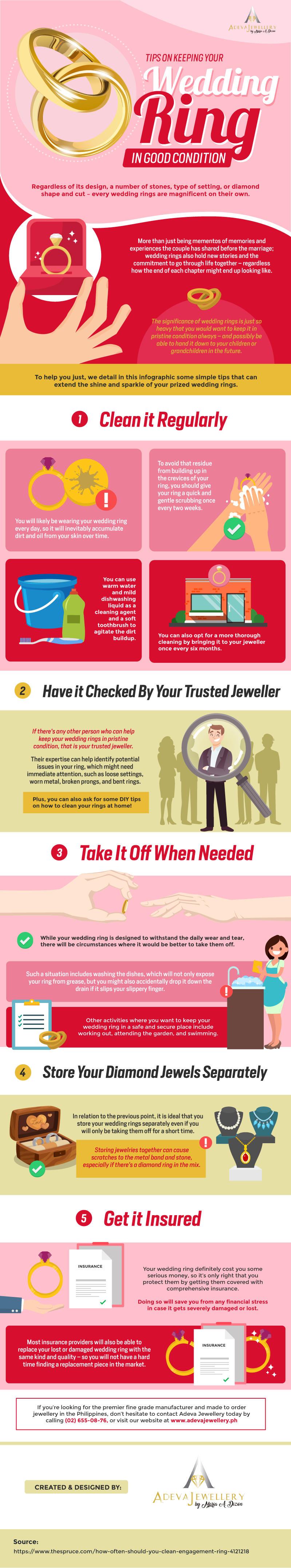 Helpful Tips in Keeping your Wedding Ring Flawless - Infographic