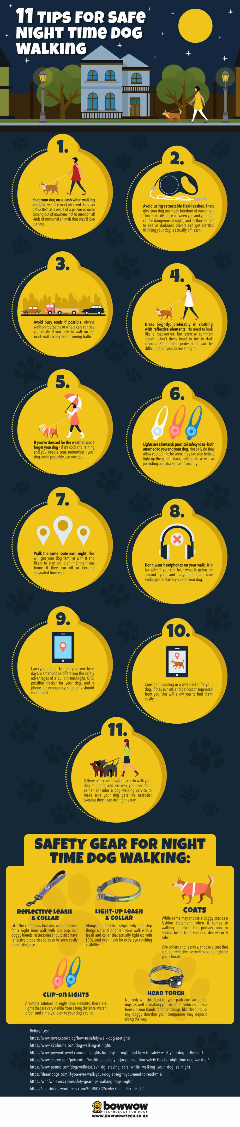 How to Ensure Your Dogs Safety During Night-Time Walks - Infographic