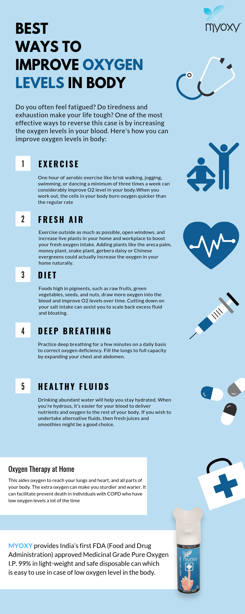 5 Simple Practices That Help Improve Oxygen Levels in the Body - Infographic