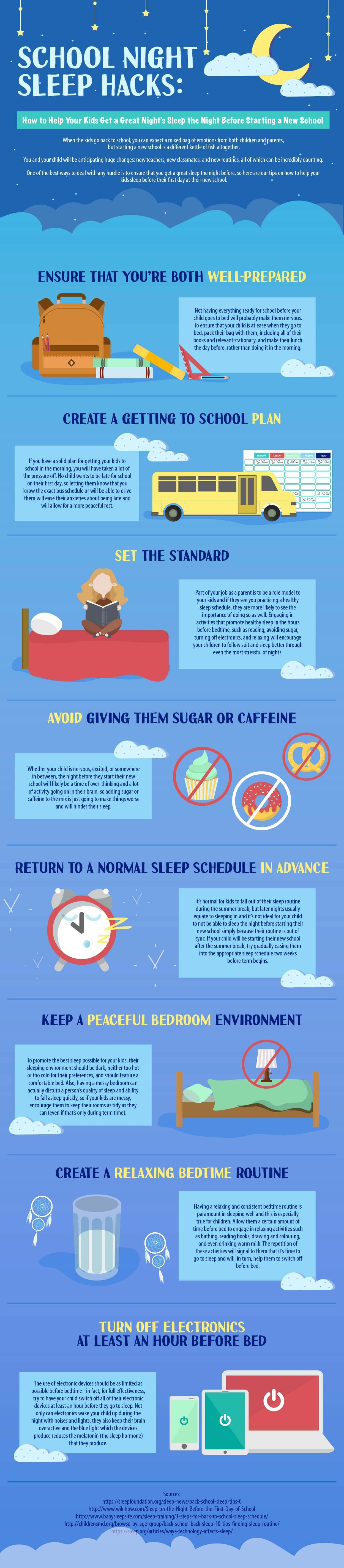 Sleep Hacks for the Night Before School Begins - Infographic