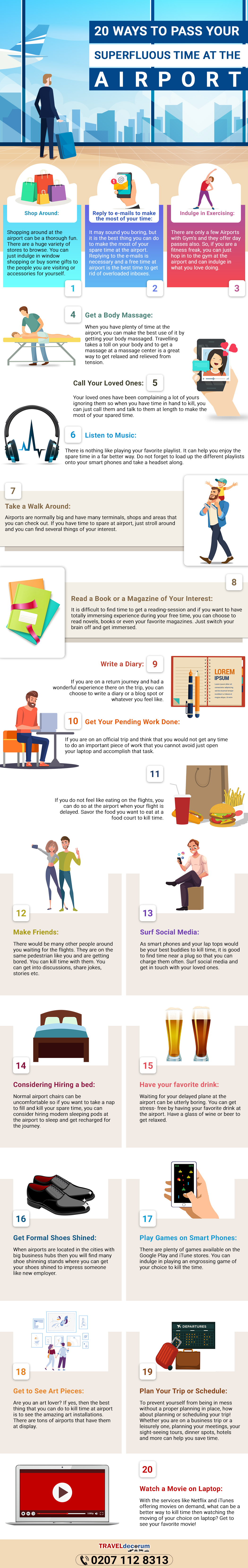 20 Great Ideas to Make Great Use of the Time Spent Waiting at Airports - Infographic