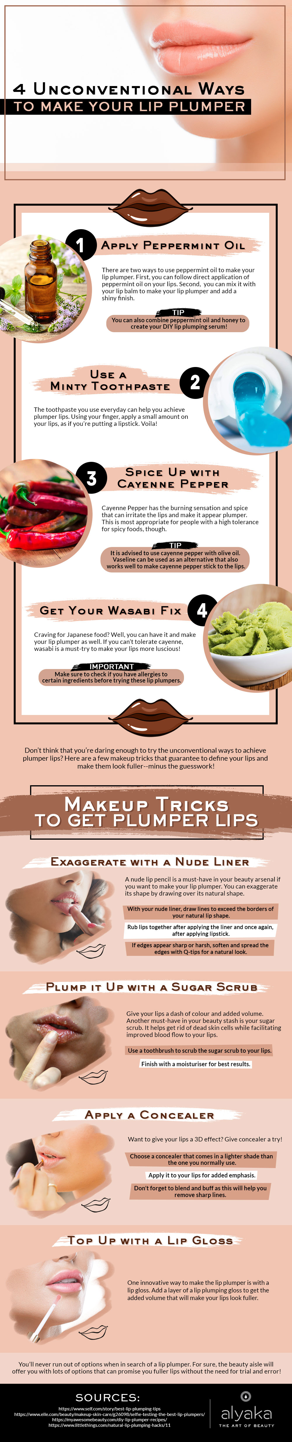 Amazing Ways and Tricks to Make Your Lips Plumper - Infographic