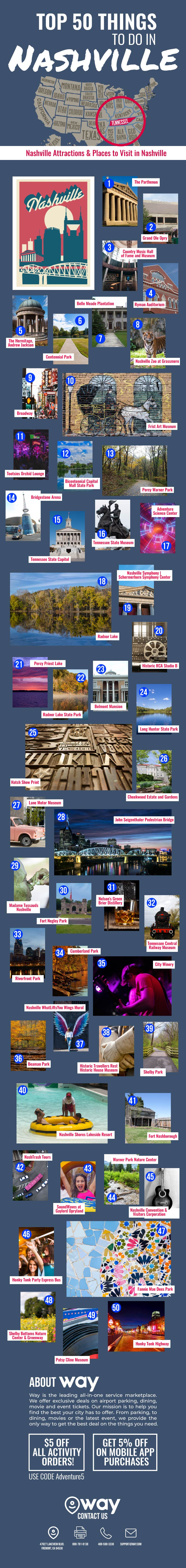 50 Must-Do Must-See Places in Nashville - Infographic