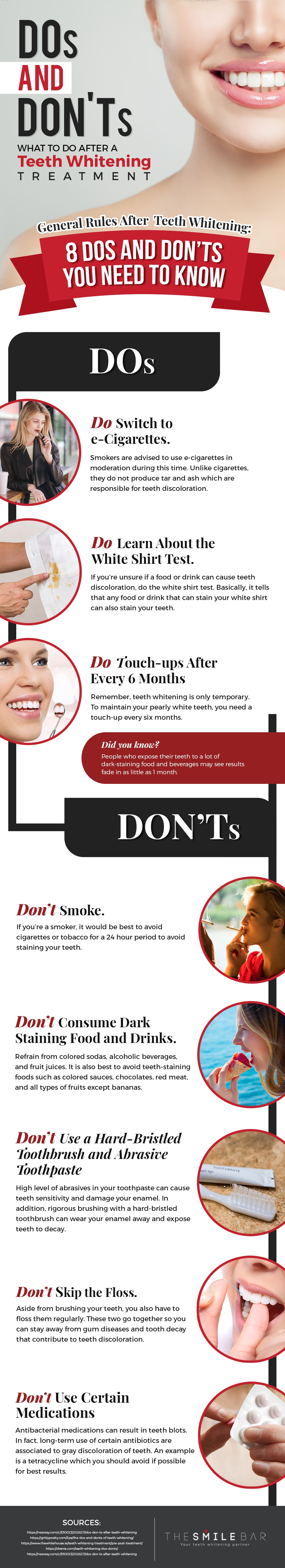 Essential Guide to Post Teeth Whitening Care: 8 Important Do's and Don'ts - Infographic