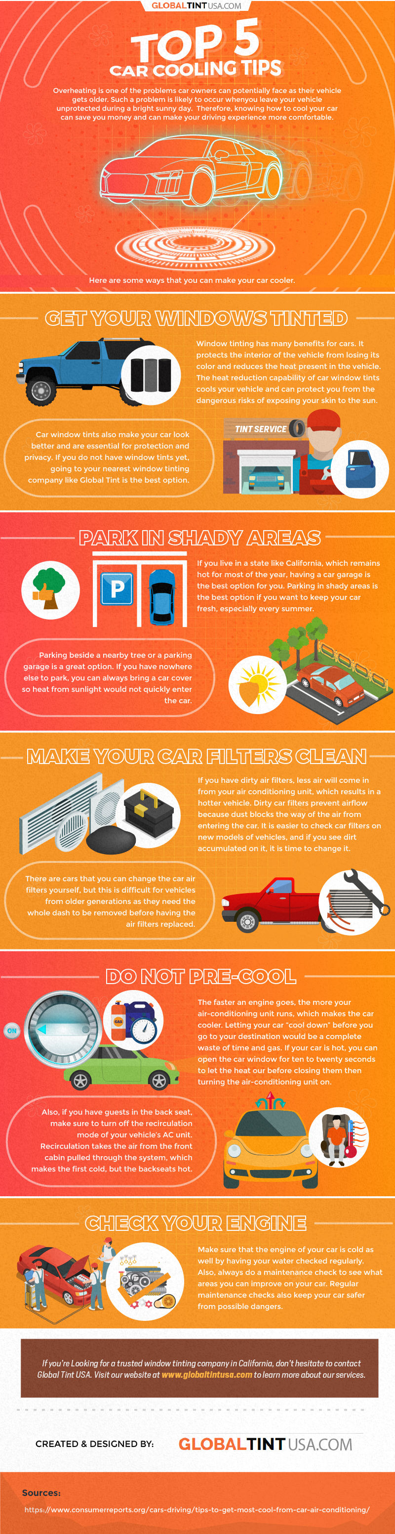 Top 5 Car Cooling Tips - Infographic